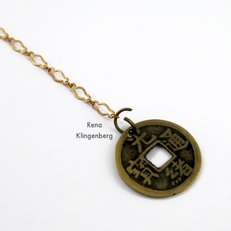 Fastening a small coin pendant to one end of the chain - Fun with Lariat Necklaces - Tutorial by Rena Klingenberg