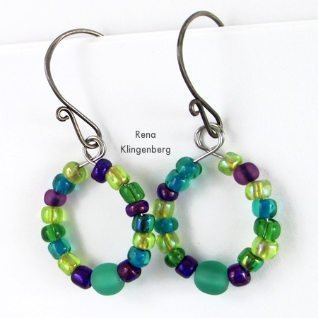 Finished earrings for Memory Wire Pendant and Earrings - Tutorial by Rena Klingenberg