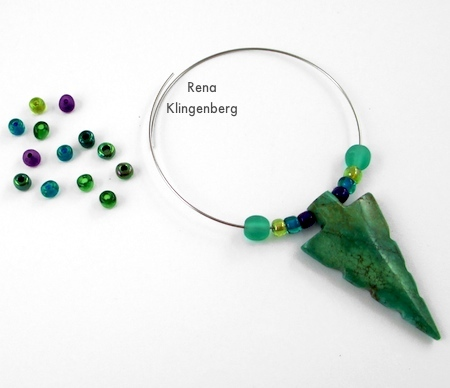 Adding accent beads to pendant for Memory Wire Pendant and Earrings - Tutorial by Rena Klingenberg