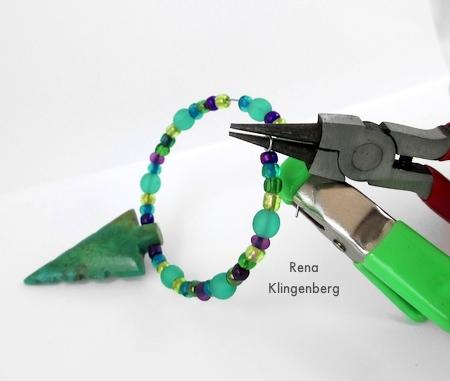 Making a loop on each wire end - Memory Wire Pendant and Earrings - Tutorial by Rena Klingenberg