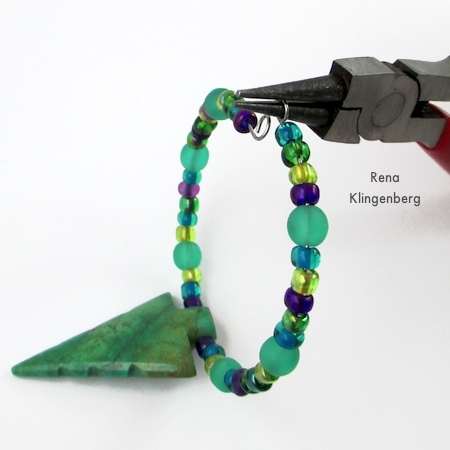 Making a loop on the end of the wire - Memory Wire Pendant and Earrings - Tutorial by Rena Klingenberg