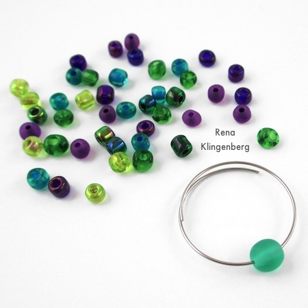 Start with the focal bead on the hoop earring - Memory Wire Pendant and Earrings - Tutorial by Rena Klingenberg