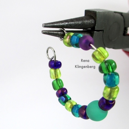 Make a loop on each wire end of earring hoop - Memory Wire Pendant and Earrings - Tutorial by Rena Klingenberg