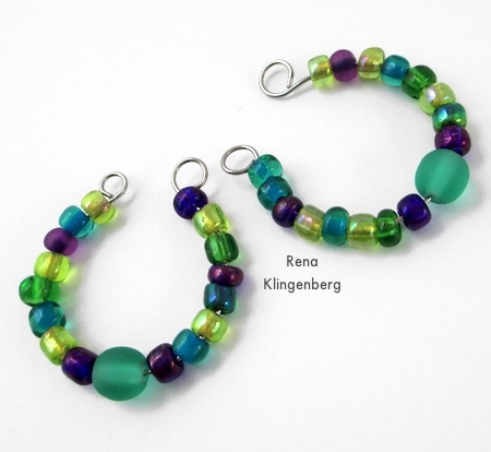 Finished loop ends on hoop earrings - Memory Wire Pendant and Earrings - Tutorial by Rena Klingenberg