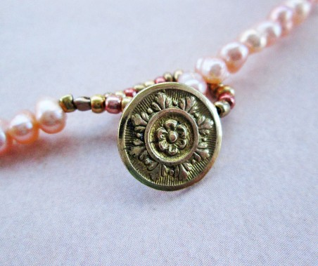 Vintage button clasp on Pearlflower Necklace by Jackie Locantore  - featured on Jewelry Making Journal