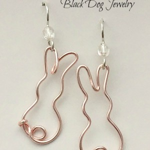 Rose Gold Wire Bunny Earrings