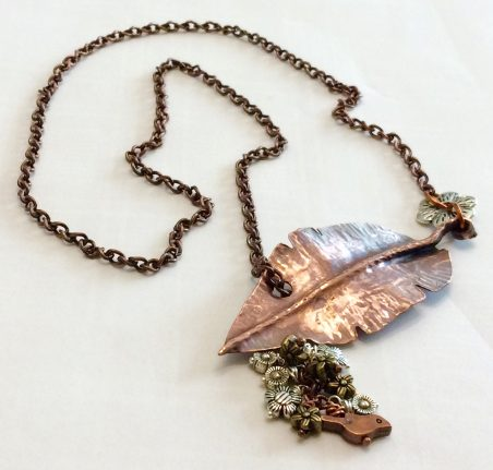 Fold Formed Leaf & Metal beads Necklace by Judy Pagnusat  - featured on Jewelry Making Journal