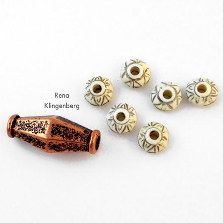 Decorative beads for Adjustable Cord Bracelet - Tutorial by Rena Klingenberg
