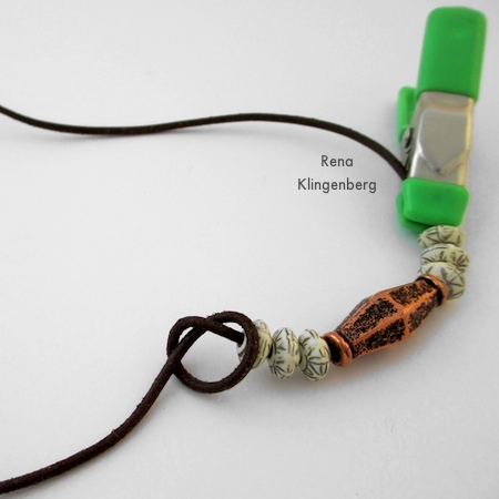 Making a knot at one end of the beads - Adjustable Cord Bracelet - Tutorial by Rena Klingenberg