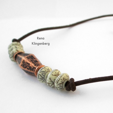 Make an identical knot at the other end of the beads -  for Adjustable Cord Bracelet - Tutorial by Rena Klingenberg