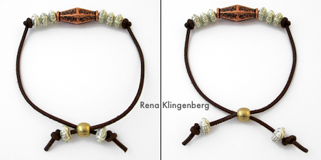 How the adjustable closure works - Adjustable Cord Bracelet - Tutorial by Rena Klingenberg