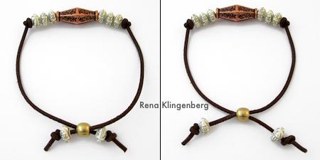 How the adjustable closure works - Adjustable Cord Bracelet - Tutorial by Rena Klingenberg