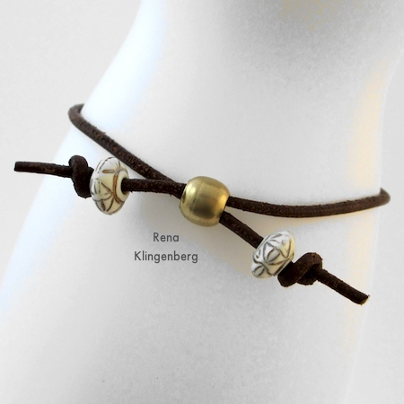 Clasp-free, adjustable closure for Adjustable Cord Bracelet - Tutorial by Rena Klingenberg