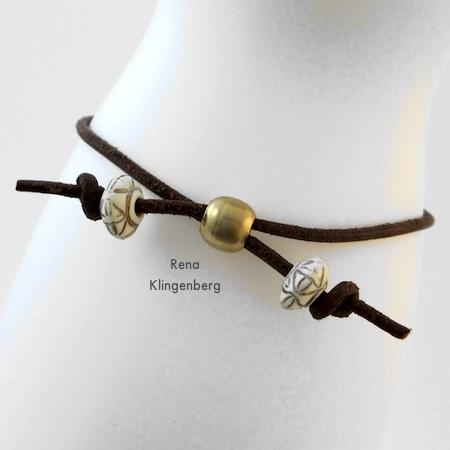 Clasp-free, adjustable closure for Adjustable Cord Bracelet - Tutorial by Rena Klingenberg