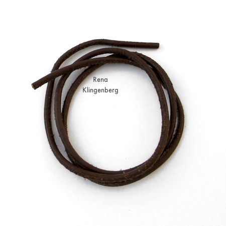 2mm leather cord for Adjustable Cord Bracelet - Tutorial by Rena Klingenberg