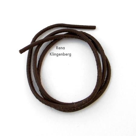 2mm leather cord for Adjustable Cord Bracelet - Tutorial by Rena Klingenberg