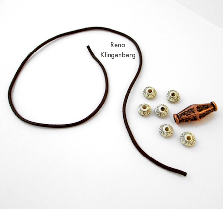 Getting ready to string beads on the cord for Adjustable Cord Bracelet - Tutorial by Rena Klingenberg