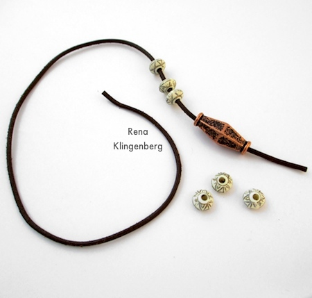 Stringing the beads onto the cord - Adjustable Cord Bracelet - Tutorial by Rena Klingenberg
