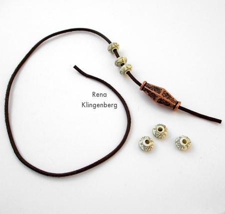 Stringing the beads onto the cord - Adjustable Cord Bracelet - Tutorial by Rena Klingenberg