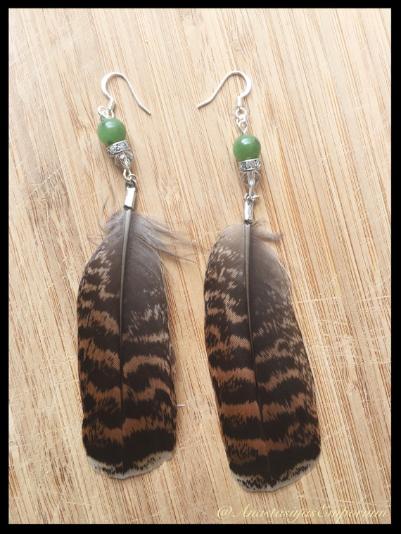Ruffled Grouse Feather Earrings with Jade