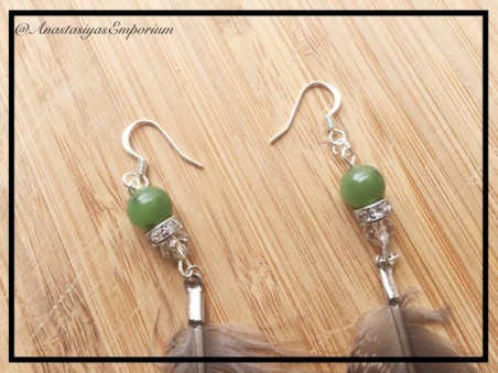Closer Look at the Beads on Ruffled Grouse Feather Earrings with Jade by Anastasiya  - featured on Jewelry Making Journal