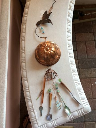 Sun catcher with silverware, copper mold, sea glass beads, by Teri Griffith - featured on Jewelry Making Journal