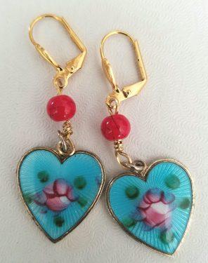 Enameled Heart Earrings