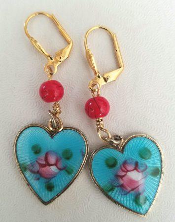 Enameled Heart Earrings by Deborah Rodriguez  - featured on Jewelry Making Journal