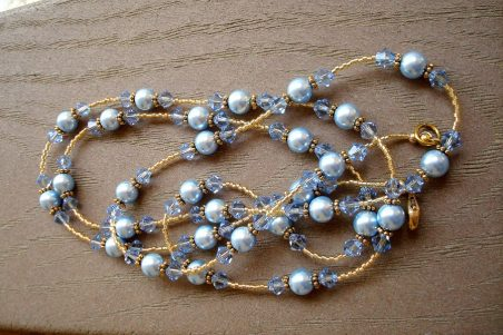 Dangle necklaces by Kathy Zee - Swarovski Crystals, Swarovski Pearls, and Gold Accents  - featured on Jewelry Making Journal