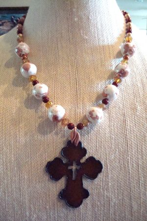 Metal Cross Necklace with Agate Beads, by Kathy Zee  - featured on Jewelry Making Journal