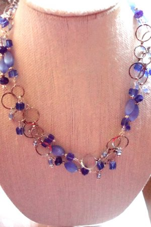 Blue Dangle Necklace, mixed blue beads, by Kathy Zee  - featured on Jewelry Making Journal