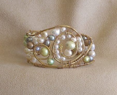 Pearls and More Pearls - Cuff Bracelets by Nancy Vaughan  - featured on Jewelry Making Journal
