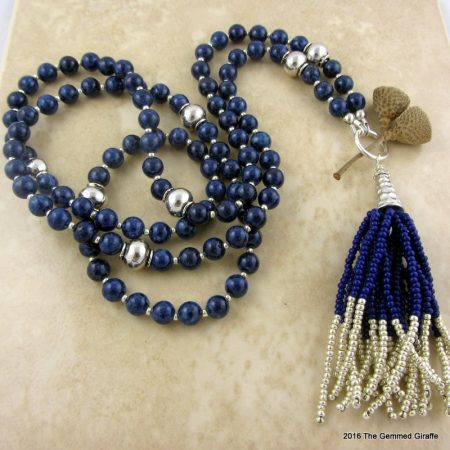 Sodalite Tassel Necklace by Maria Jenny  - featured on Jewelry Making Journal