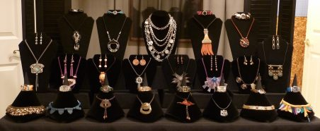 Close-up view of jewelry booth display by Sharon Butcher  - featured on Jewelry Making Journal