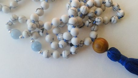 Blue Ocean Mala to inspire well-being, by Irene Vrbensky  - featured on Jewelry Making Journal