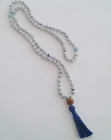 Blue Ocean Mala to inspire the feeling of contentment, by Irene Vrbensky  - featured on Jewelry Making Journal