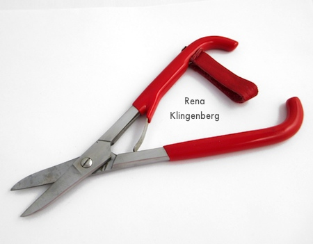 Metal-cutting shears for Changeable Crescent Moon Necklace - Tutorial by Rena Klingenberg
