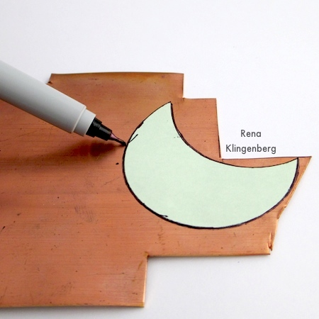 Tracing paper pattern onto metal for Changeable Crescent Moon Necklace - Tutorial by Rena Klingenberg