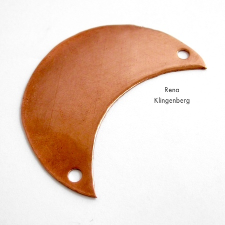 Holes punched for Changeable Crescent Moon Necklace - Tutorial by Rena Klingenberg