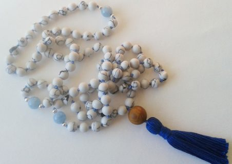 Blue Ocean Mala to inspire calm, by Irene Vrbensky  - featured on Jewelry Making Journal