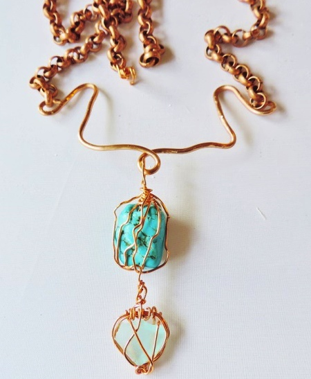Alaskan sea glass and turquoise, by Jean Forman  - featured on Jewelry Making Journal