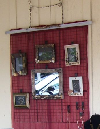 Joan's wall-hung grid jewelry display  - featured on Jewelry Making Journal