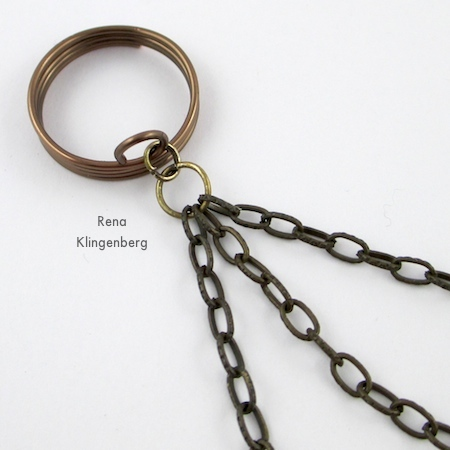 Attaching the three chains to the ring - Triple Chain Slave Bracelet - Tutorial by Rena Klingenberg