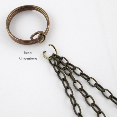 Gathering the three chains to attach to the ring - Triple Chain Slave Bracelet - Tutorial by Rena Klingenberg