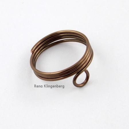 Ring with loop, for Triple Chain Slave Bracelet - Tutorial by Rena Klingenberg