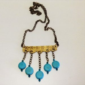 Brass Chandelier-Turquoise-Crystals Necklace