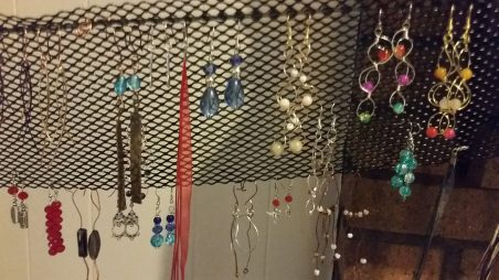 """Earrings on Andrea's """"reclaimed hanging thing""""  - featured on Jewelry Making Journal"""