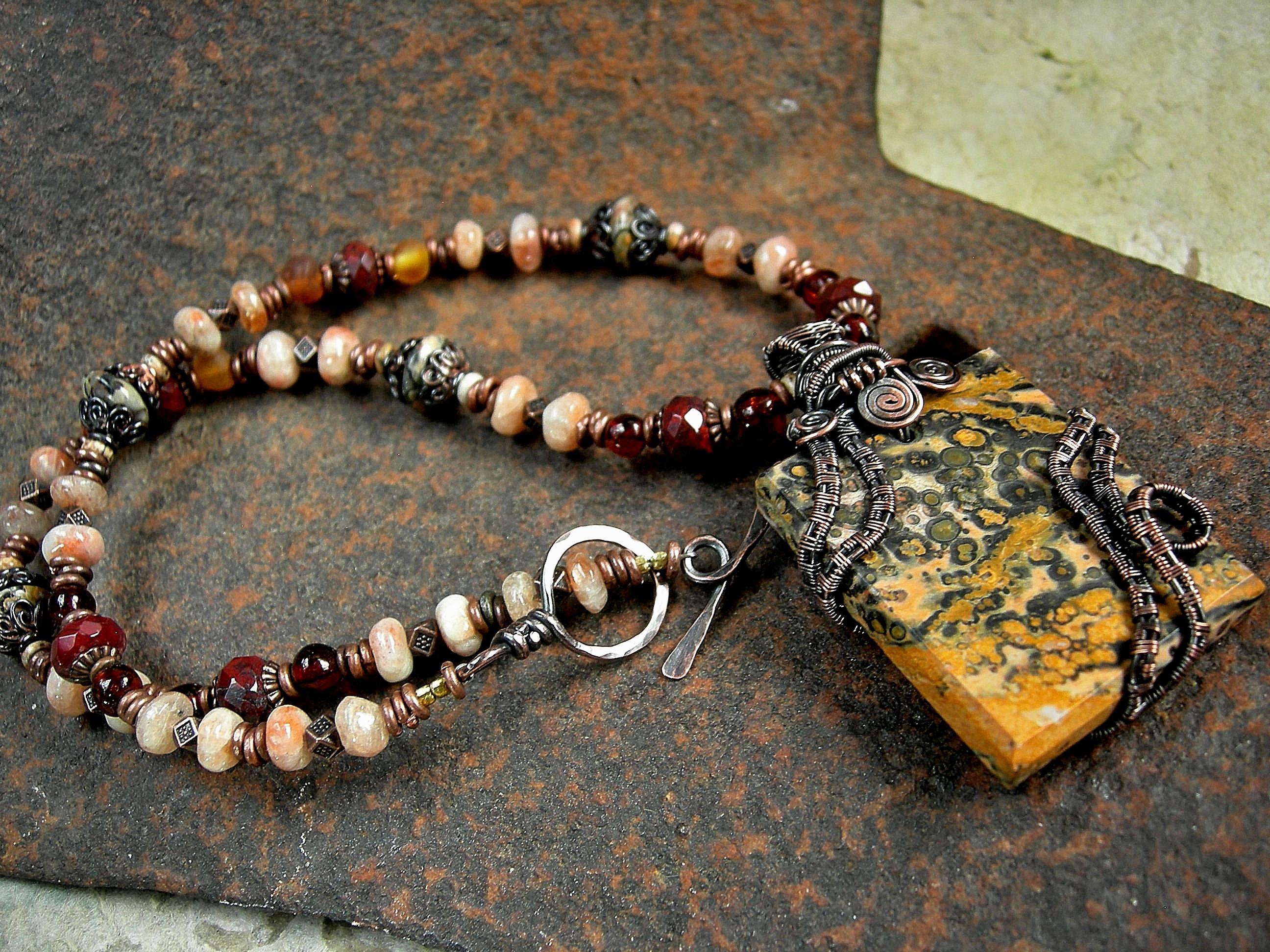 Leopardskin Jasper & Copper Wire Wrap Art Necklace