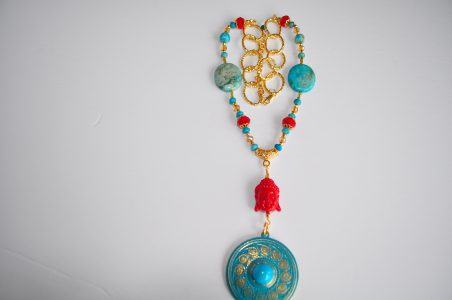 Turquoise Buddha necklace, by Linda Maria Santiago - featured on Jewelry Making Journal