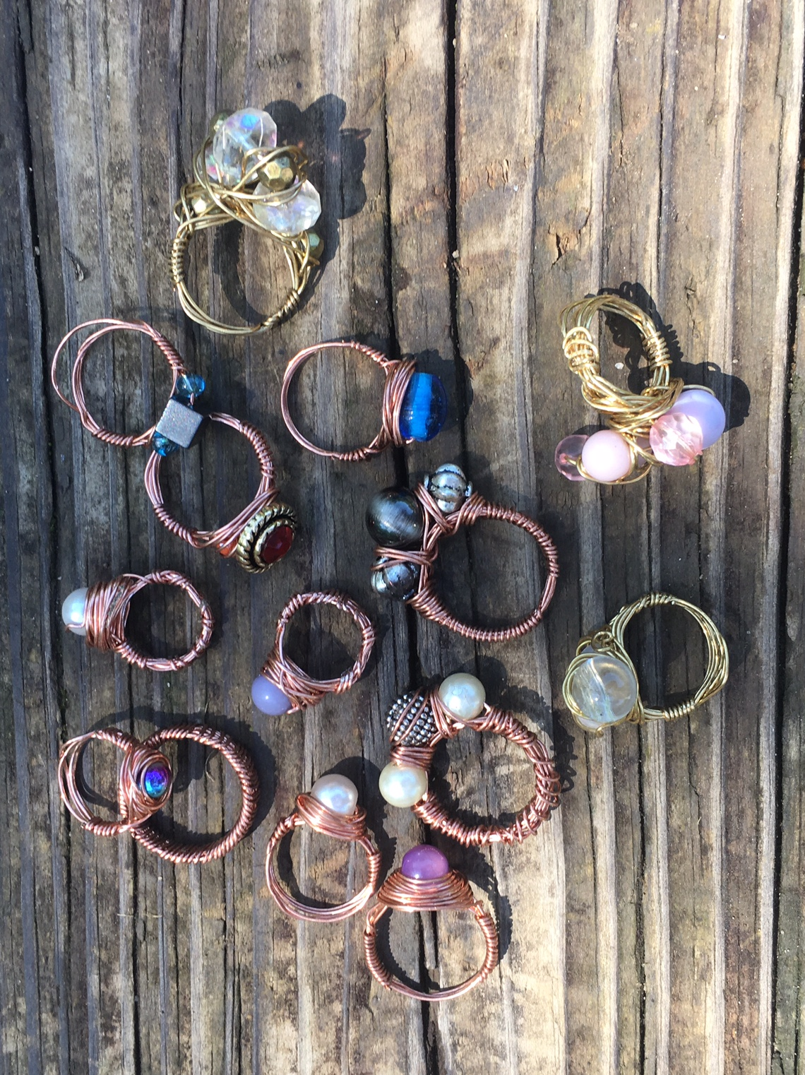 Beads and Button Wire Rings